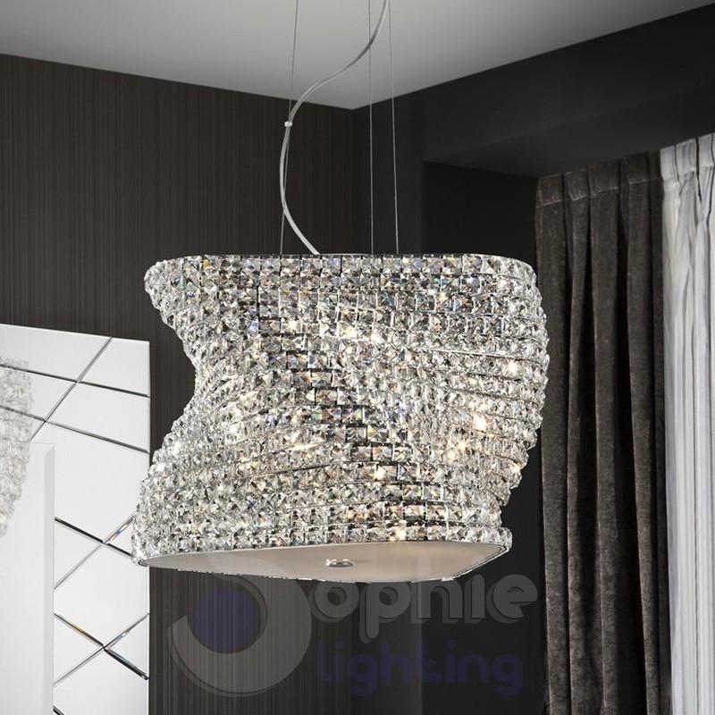 Lampada sospensione design moderno elegante cristallo -> Lampadari Cucina Eleganti