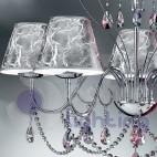 Lampadario moderno 5 luci cromato paralumi argento