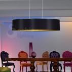 Lampadario sospensione design moderno paralume 100 cm nero oro
