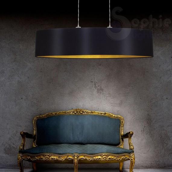 Lampada sospensione moderna paralume ner oro cucina