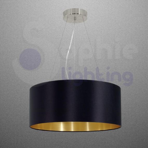lampadario sospensione : ... > Lampadario sospensione design moderno paralume rotondo nero oro