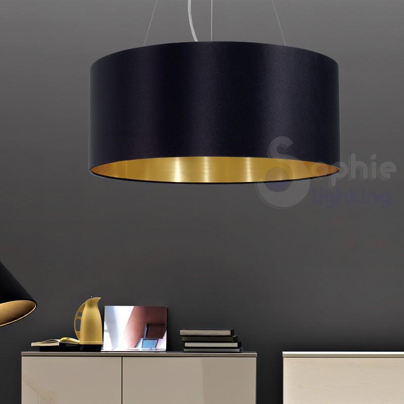 Lampadario sospensione design moderno paralume rotondo nero oro