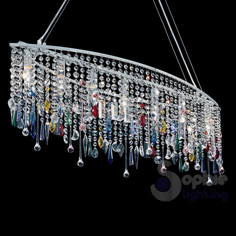 Lampadario sospensione moderno ovale cromo pendenti cristalli colorati