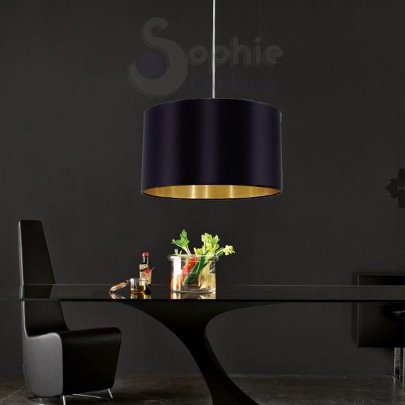Sospensione moderna paralume tessuto oro nero tavolo
