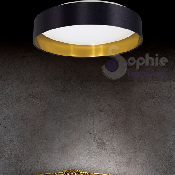 ... Moderne Led > Plafoniera LED rotonda design moderno paralume nero oro