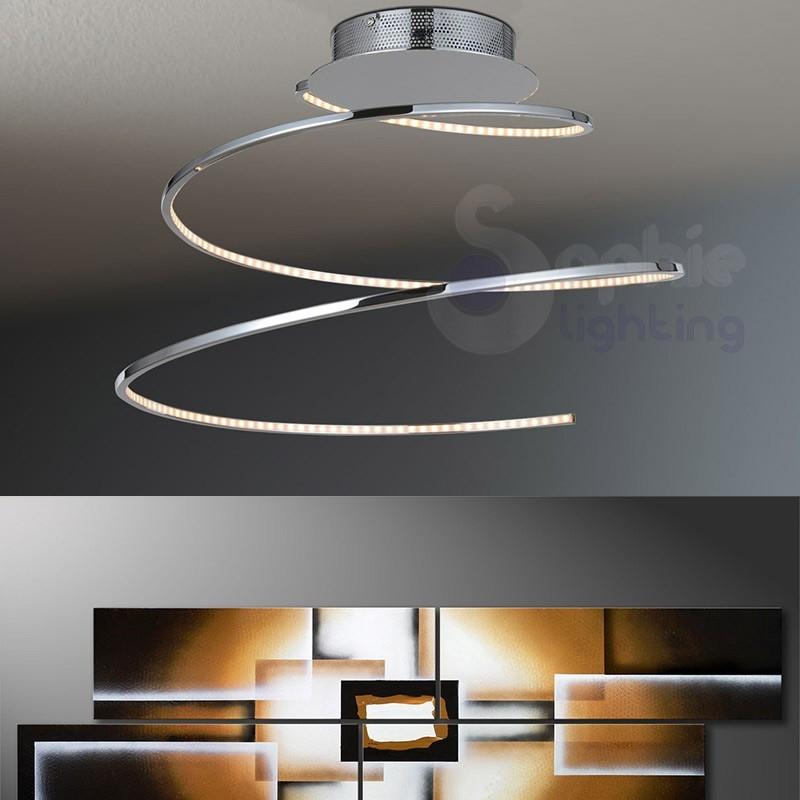 Plafoniera moderna led in acciaio cromato 1005 pl48 for Plafoniere moderne per soggiorno