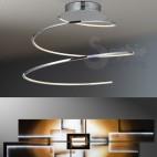 Plafoniera LED design moderno spirale acciaio cromato