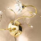 Plafoniera soffitto cromata oro 3 luci fiori cristallo
