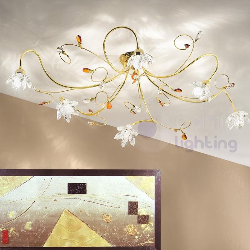 Lampada soffitto 3 luci sfere vetro soffiato design moderno plafoni...
