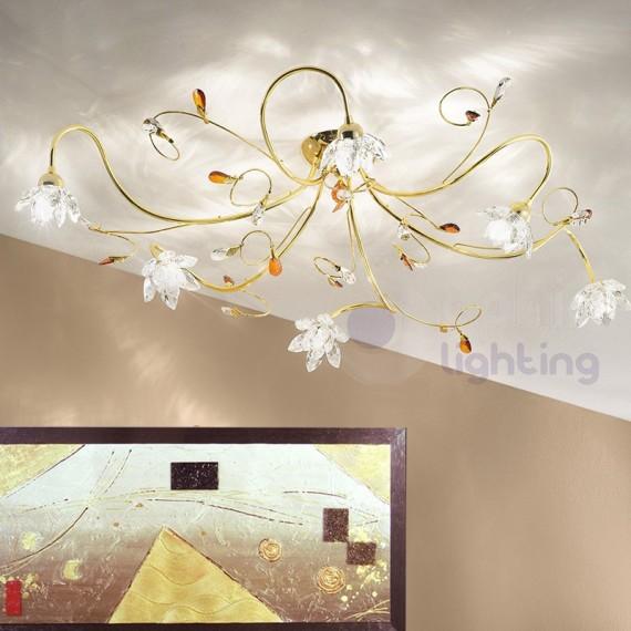 Plafoniera elegante 6 luci fiori cristallo cromata oro
