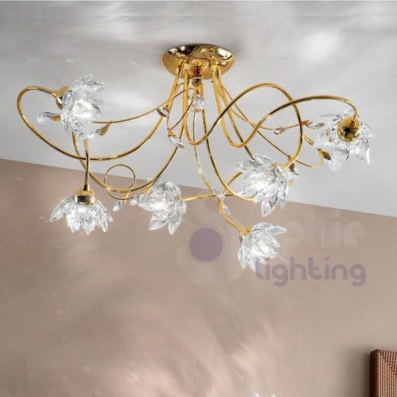 Lampadario soffitto design moderno cromato oro fiori cristallo for Lampadario da soffitto