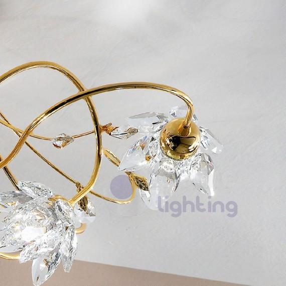 ... > Lampadario soffitto design moderno cromato oro fiori cristallo