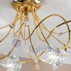Lampadario soffitto design moderno cromato oro fiori cristallo