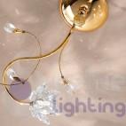 Plafoniera 2 luci cromata oro fiori cristallo ingresso