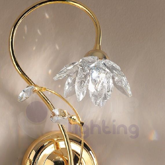 Applique parete design moderno color oro fiore cristallo applique m...