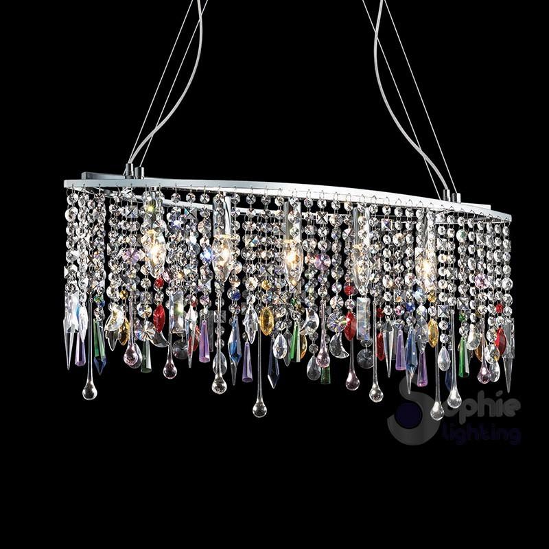 Lampadario moderno ellisse cromato 5 luci cascata cristalli colorati