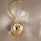 Applique parete design moderno color oro fiore cristallo