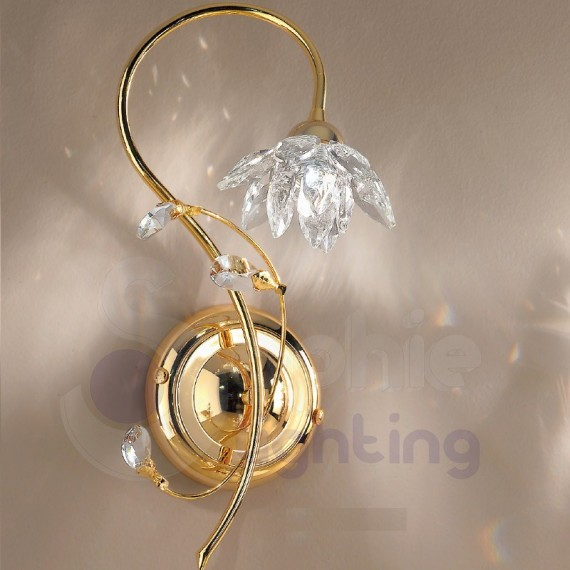 Applique parete design moderno color oro fiore cristallo - Applique moderne per bagno ...