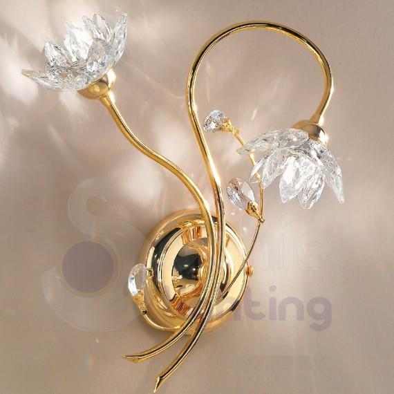 Applique design 2 luci fiori cristallo cromato oro bagno - Applique moderne per bagno ...