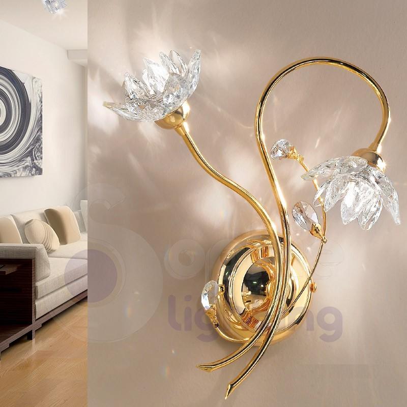 Applique parete design moderno classico cromo oro paralumi cristalli - Applique per il bagno ...