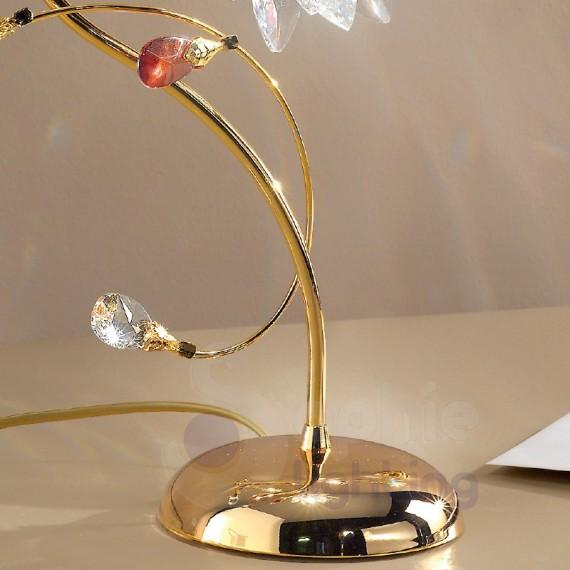Lampade Da Tavolo Moderne Acciaio : Abat jour comodino acciaio cromato oro fiore cristallo