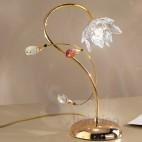Abat jour comodino acciaio cromato oro fiore cristallo