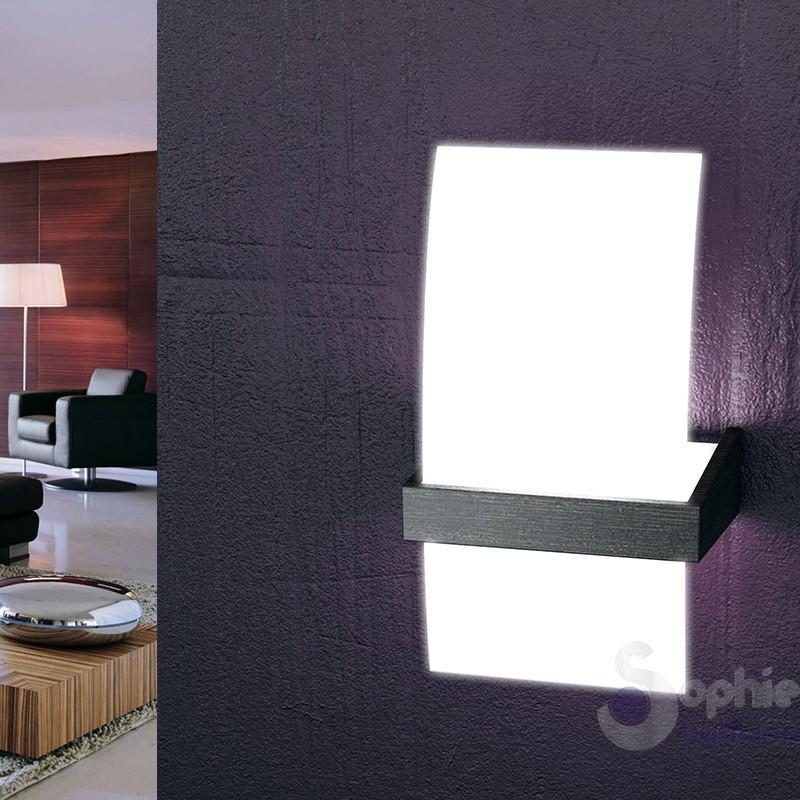 Applique parete design moderno legno wengè marrone vetro currvo salone