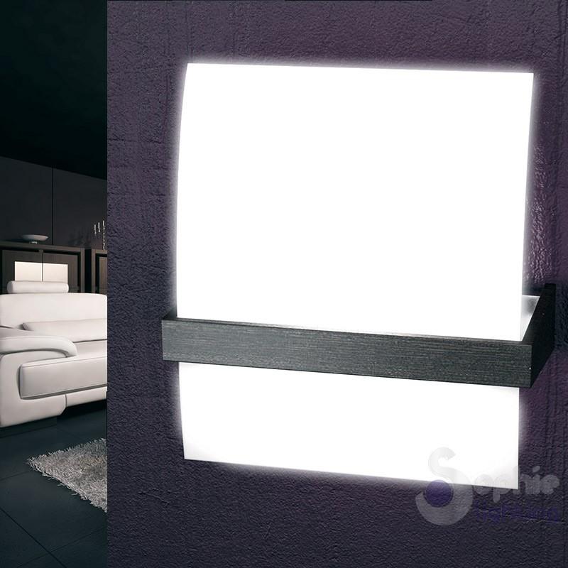 Lampada parete vetro satinato legno wengè design moderno