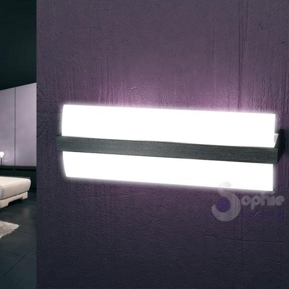 Applique parete design minimal legno vengè cromo