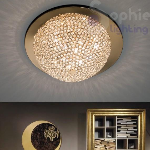 Plafoniera 60 cm design moderno cromata oro cristalli for Plafoniere moderne