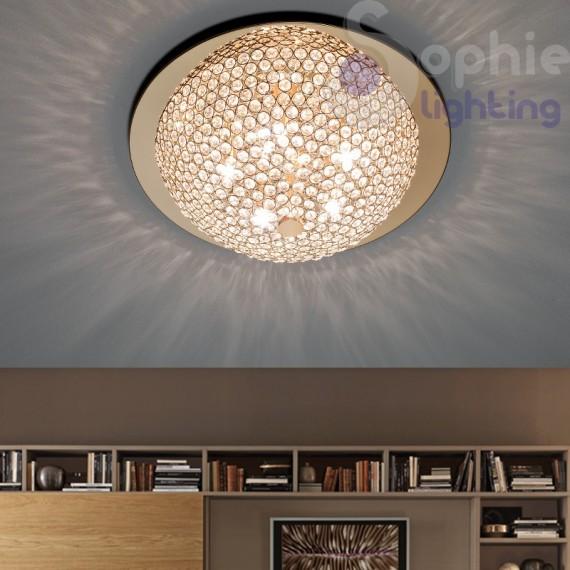 Plafoniera soffitto moderno cromata oro cristalli trasparenti