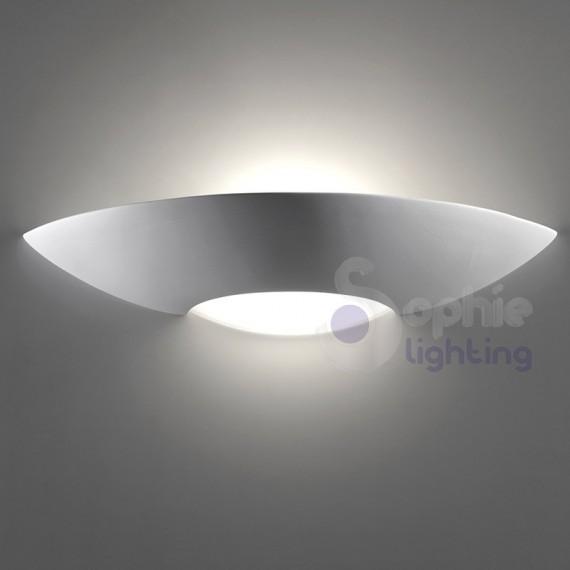 Lampada parete design moderno gesso verniciabile applique gesso
