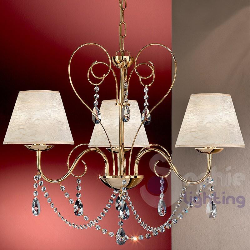 Lampadario moderno 3 luci cromato oro paralumi avorio