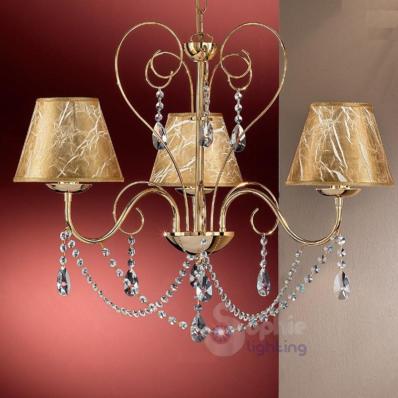 Lampadari Per Soggiorni Classici.Lampadario Led Mderno 3 Luci Acciaio Cromo Foglie Cristallo