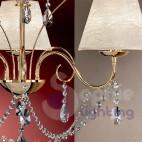 Lampadario 5 luci moderno cristalli acciaio cromo paralumi argento