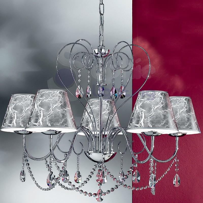 Lampadario 5 luci moderno cristalli acciaio cromo paralumi for Lampadari in acciaio moderni