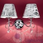 Applique parete 2 luci design moderno acciaio cromo paralumi cristalli