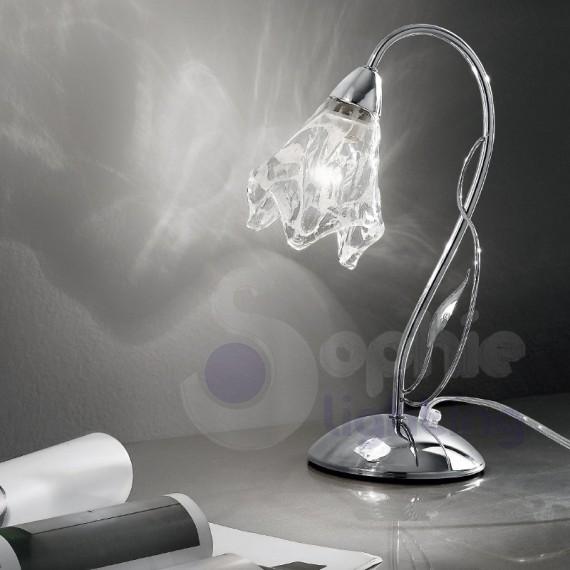 Lampada lumetto tavolo design moderno acciaio cromato vetro decorato