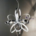Lampada sospensione moderna regolabile cucina acciaio cromato bianco