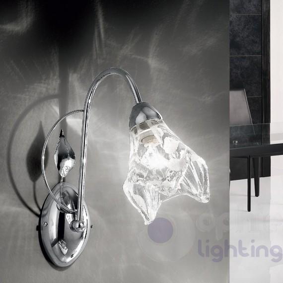 Lampada parete ingresso moderna acciaio cromato design vetro