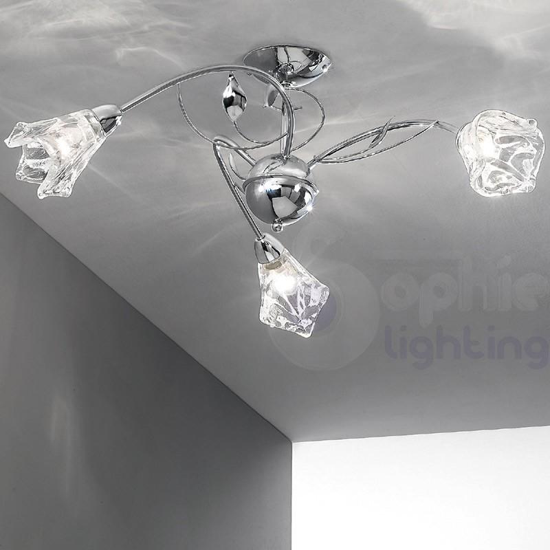 Plafoniera soffitto 3 luci bracci foglie design moderno cromata