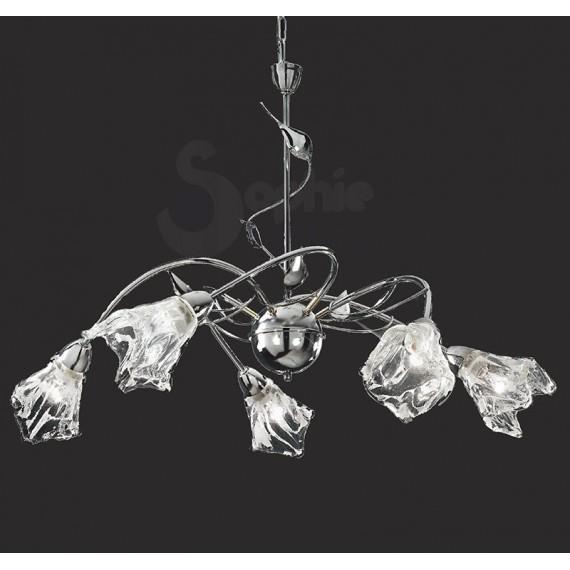 Lampadario 5 luci bracci design moderno cromato soggiorno - Luci soggiorno moderno ...
