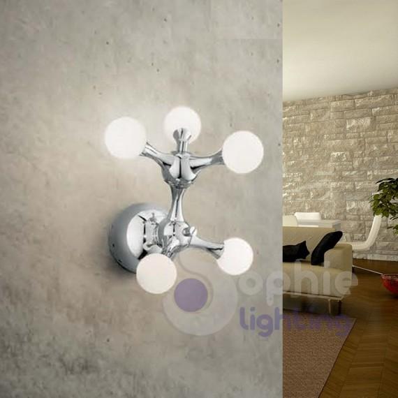 Applique parete design acciaio cromato sfere vetro bianco