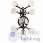 Plafoniera soffitto 8 luci design globi vetro satinato acciaio cromato