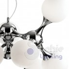 Lampadario sospensione regolabile design moderno sfere vetro