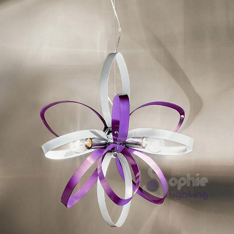Lampadario sospensione regolabile design moderno bianco viola cucina