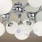 Lampadario sospensione design moderno sfere vetro acciaio cromato