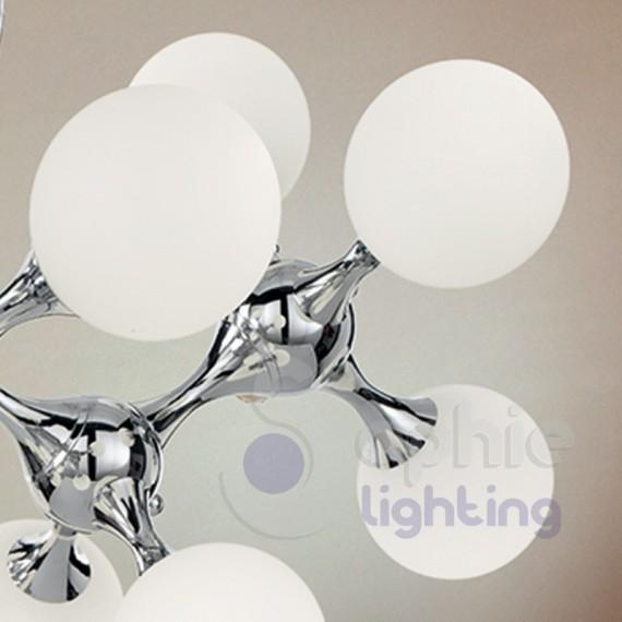 ... > Lampadario sospensione design moderno sfere vetro acciaio cromato