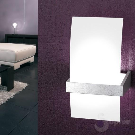 Applique parete vetro curvo design moderno foglia argento