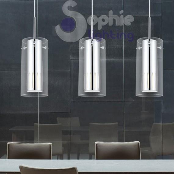 Lampada sospensione moderna LED regolabile 3 pendenti penisola tavolo
